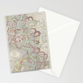 Beautiful Map of the Lower Mississippi River Stationery Cards