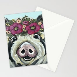 Cute Pig Art, Flower Crown Pig Art Stationery Cards