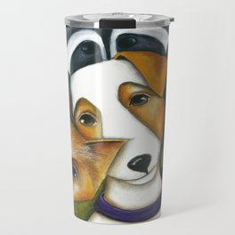 Dog Fox Raccoon Forest Friends Jack Russell Terrier Original art by Deb Harvey Travel Mug