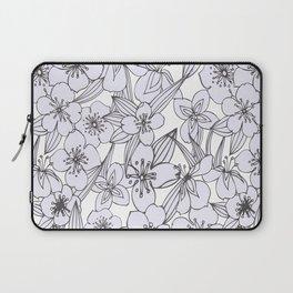 Hand drawn modern black white botanical floral pattern Laptop Sleeve