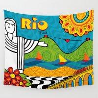 rio de janeiro Wall Tapestries featuring Rio de Janeiro 2015 by Monica Fuchshuber