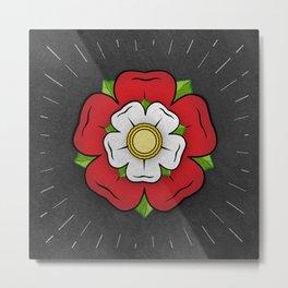 Red Tudor Rose British Flag Red Union Historic Heraldry Metal Print