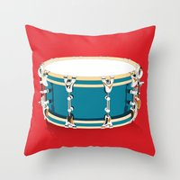 drum Throw Pillows featuring Drum - Red by Ornaart