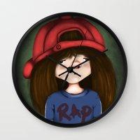 rap Wall Clocks featuring rap by Pınar Bibin