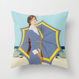 "C Coles Phillips ""Beach Umbrella"" Fadeaway Girl Throw Pillow"