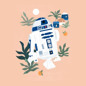 illustration of R2-D2 in a desert oasis