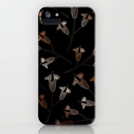 Black floral pattern flower iPhone Case