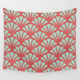 Coral and Mint Green Deco Fan Wall Tapestry