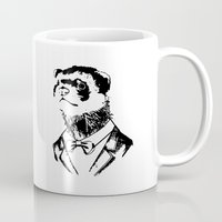 ferret Mugs featuring Fancy Ferret by Julian K Designs