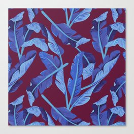 Tropical '17 - Blue Bird Of Paradise [Banana Leaves] Canvas Print