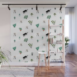 cats and pots pattern Wall Mural