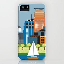 Minneapolis, Minnesota - Skyline Illustration by Loose Petals iPhone Case