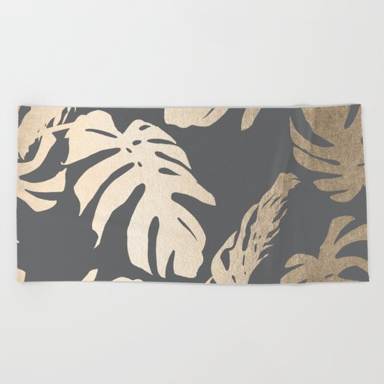 Simply Tropical Palm Leaves White Gold Sands on Storm Gray Beach Towel