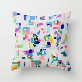 'Sunshine In The City' Fun colorful Abstract Acrylic Painting Shapes Pattern Modern Fun Pastel Spots by Ejaaz Haniff Throw Pillow