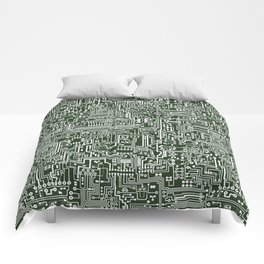 Circuit Board // Green & White Comforters