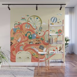 red-haired girl and her dreams about travel and vacation Wall Mural