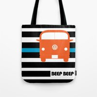 vw bus Tote Bags featuring VW Bus by see BOLD