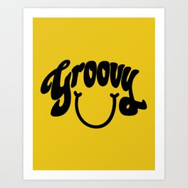 Groovy Smile // Black Smiley Face Fun Retro 70s Hippie Vibes Mustard Yellow Lettering Typography Art Art Print