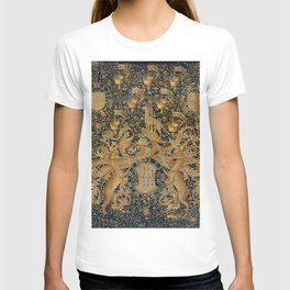 Vintage Golden Deer and Royal Crest Design (1501) T-shirt