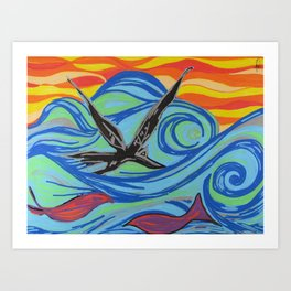 The ocean, waves, birds, and fishes Art Print