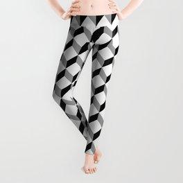 3d cube pattern - geometric black and white cubic design Leggings