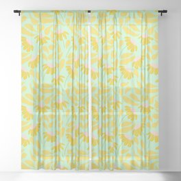 Yellow Florals Sheer Curtain