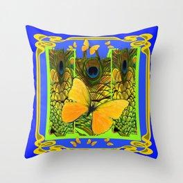 BLUE ART NOUVEAU YELLOW BUTTERFLIES GREEN ART Throw Pillow