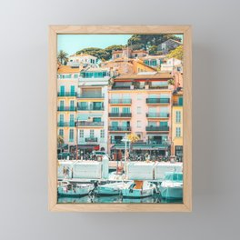 Cannes Downtown City Print, Cannes Skyline, Old Town French Riviera, Yachts And Boats, City Marina Port In France Framed Mini Art Print