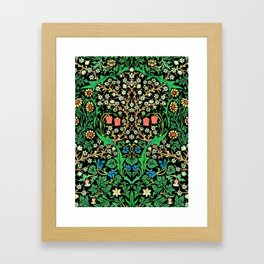 William Morris Jacobean Floral, Black Background Framed Art Print