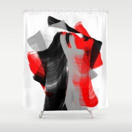 dancing abstract red white black grey digital art Shower Curtain