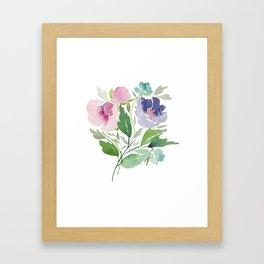 Purple and Pink Peonies Framed Art Print
