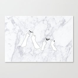 You girls are so pretty, you should smile Marble Canvas Print