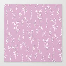 Modern spring pink lavender floral twigs hand drawn pattern Canvas Print
