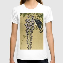 Bird and Wisteria flower - Vintage Japanese Woodblock Print Art T-shirt