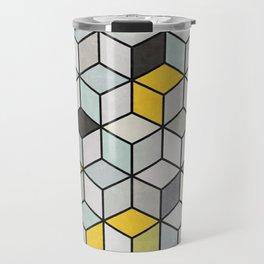 Colorful Concrete Cubes - Yellow, Blue, Grey Travel Mug