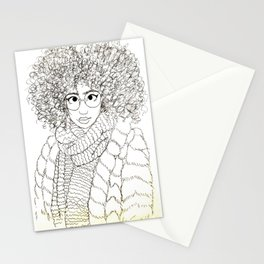 Girl in Fur Coat (Faux) Stationery Cards