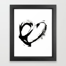 Brushstroke 6: a minimal, abstract, black and white piece Framed Art Print