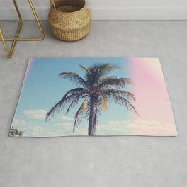 Palm Tree Light Leak Color Nature Photography Rug