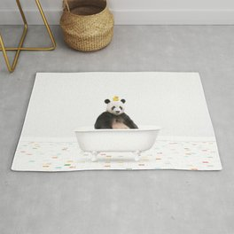 Panda with Rubber Ducky in Vintage Bathtub Rug