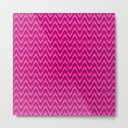 Mod Red Pink Bargello Stripe Metal Print