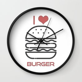 I Love Burger - BBQ Barbecue Grill Design Wall Clock