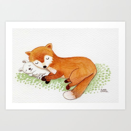 Fox and rabbit friends Art Print