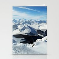 low poly Stationery Cards featuring low poly mountains by tony tudor