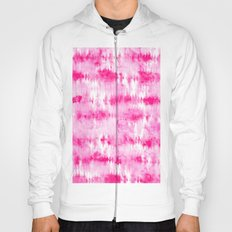 Boho bright hippie neon pink tie dye stripes pattern hand painted watercolor Hoody