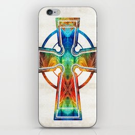 Colorful Celtic Cross by Sharon Cummings iPhone Skin