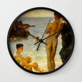 Lovers of the Sun by Henry Scott Tuke Wall Clock