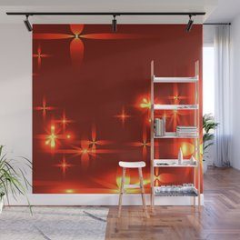 Bloody background with shining light metal stars. Wall Mural