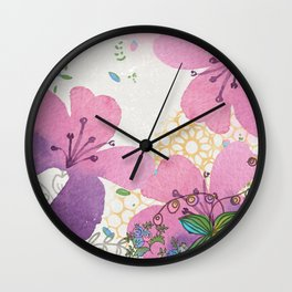 Bees and Blooms IV: Watercolor illustrated honeybee & flower print Wall Clock