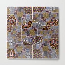 Golden harvest patchwork design Metal Print