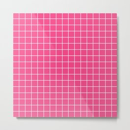 French rose - pink color - White Lines Grid Pattern Metal Print